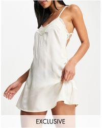 Missguided Атласная Ночная Рубашка Кремового Цвета -белый