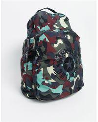 Kipling Sac à dos à imprimé camouflage - Gris