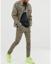 Cheap Monday Tight Skinny Jeans With Cheetah Print - Multicolour