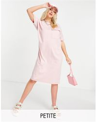 Noisy May Exclusive Organic Cotton Midi T-shirt Dress - Pink