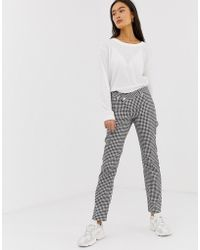 58ea9bb884b4 ASOS - Florence Authentic Straight Leg Jeans In Mono Gingham Print With  Wrap Waistband - Lyst