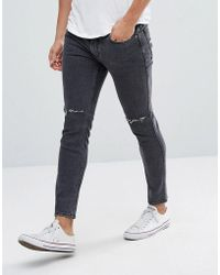 Mango - Man Skinny Jeans With Rips In Washed Black - Lyst