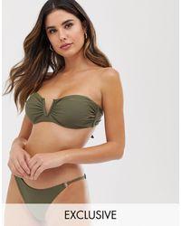 Glamorous Exclusive V Wire Bandeau Bikini Top - Natural