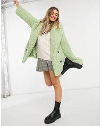 ASOS Мятное Двубортное Плюшевое Пальто - Зеленый