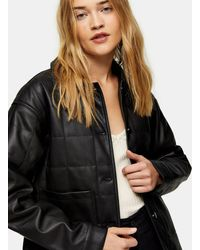 TOPSHOP Faux Leather Boxy Quilted Jacket - Brown
