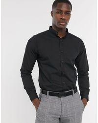 Bolongaro Trevor Chemise coupe slim à col grand-père - Noir