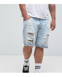 ASOS - Plus Slim Denim Shorts In Light Bleach Wash Blue With Rips - Lyst