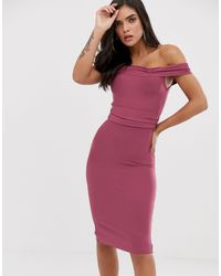 The Girlcode Bandage Bodycon Dress With Frill Off Shoulder - Purple