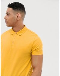 ASOS - Polo In Jersey In Yellow - Lyst