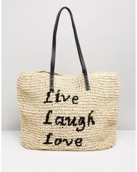 Vincent Pradier - Live Laugh Love Straw Bag - Lyst