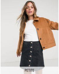Miss Selfridge Petite Faux Fur Trucker Coat - Brown