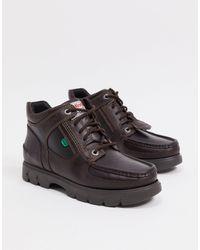 Kickers - Коричневые Кожаные Ботинки Средней Посадки На Шнуровке Lennon-коричневый - Lyst