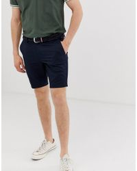 River Island - Belted Chino Shorts In Navy - Lyst