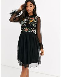Frock and Frill Frock & Frill Mesh Long Sleeve Embroidered Detail Collar Dress - Black