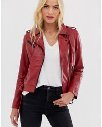 Barneys Originals Barney's Originals Coloured Leather Biker Jacket In Red