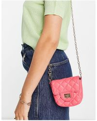 Truffle Collection Micro Mini Quilted Cross Body - Pink