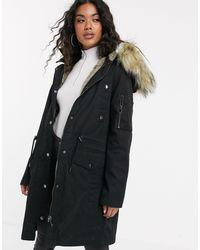 ASOS Parka With Detachable Faux Fur Liner - Black