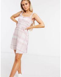 NA-KD Пастельно-розовое Платье Мини В Клетку -розовый