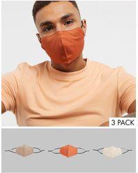ASOS 3 Маски Для Лица (оранжевая/серо-коричневая) С Регулируемыми Ремешками - Многоцветный