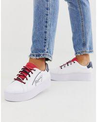 Tommy Hilfiger Sneakers Met Plateauzool En Logo - Wit