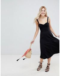 6702c3fb513 Lyst - ASOS Midi Cotton Sundress With Cups in Black