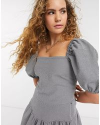 & Other Stories Check Puff Sleeve Blouse - Gray