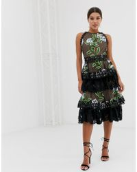 Bronx and Banco Bronx & Banco Bridget Ruffle Midi Dress - Black
