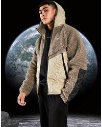 Nike Светло-бежевая Куртка На Молнии С Капюшоном И Вставками Из Флиса Heritage Essentials Winter-светло-бежевый - Многоцветный