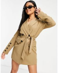 4th & Reckless Tie Front Blazer Dress - Gray