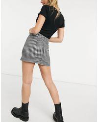 Topshop Unique Gingham Bengaline Mini Skirt - Black