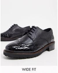 Dune Fion - Chaussures richelieu pointure large en cuir - Noir