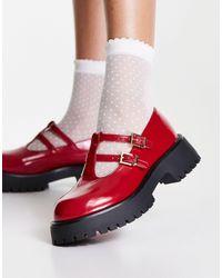 ASOS Красные Туфли На Массивной Подошве С Ремешком На Подъеме - Красный