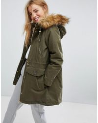 Pull&Bear - Faux Fur Hood Parka Coat - Lyst