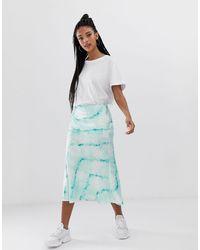 Bershka Satin Skirt - Blue