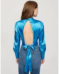 Miss Selfridge Синяя Блузка С Высоким Воротом И Открытой Спиной -голубой - Синий