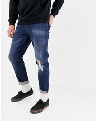 ASOS 12.5oz Tapered Jeans In Dark Wash Blue With Rips