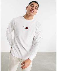 Tommy Hilfiger Asos Exclusive Flag Front And Signature Back Print Long Sleeve Top Relaxed Fit - White