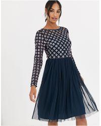 Angeleye Embellished Long Sleeve Mini Dress - Blue