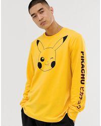 Criminal Damage Long Sleeve Pikachu Jersey T-shirt - Yellow