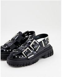 ASOS Черные Ботинки На Массивной Плоской Подошве С Металлической Фурнитурой - Черный