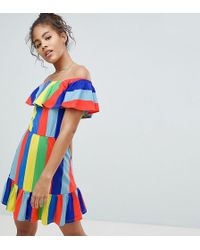 7c02e2c8a98 ASOS - Asos Design Tall Off Shoulder Sundress With Tiered Skirt In Rainbow  Stripe - Lyst