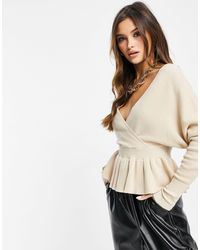 Liquorish Wrap Front Knitted Top With Frill - Natural