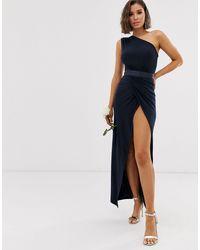 Club L London Платье Макси На Одно Плечо С Отделкой На Поясе Bridesmaid-темно-синий