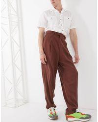 ASOS Pantalon Met Hoge Taille - Bruin