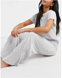 Chelsea Peers Eco Soft Jersey Rib Lounge Wide Leg Trouser - Grey