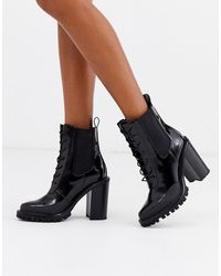 ASOS Ellen Chunky Lace Up Ankle Boots - Black