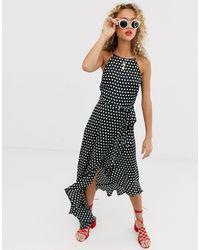New Look Ruffle Spot Satin Midi Dress In Polka Dot - Black