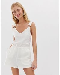 Monki Linen Playsuit - White