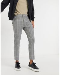 TOPMAN Check Trousers With Elasticated Waist - Grey