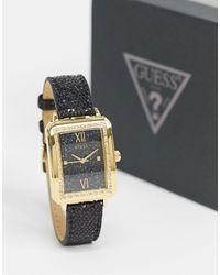 Guess – Armbanduhr mit eckigem Zifferblatt - Schwarz